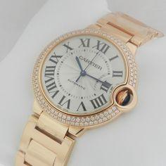 Dream watch!!!  CARTIER Ballon Bleu 18K Rose Gold MEDIUM Diamond Case WE9005Z3 Retail: $53,000 #Cartier