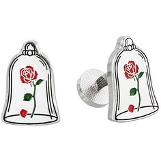 Cufflinks Inc. Beauty and the Beast Enchanted Rose Cufflinks (Silver)... ($65) ❤ liked on Polyvore featuring men's fashion, men's accessories and cuff links