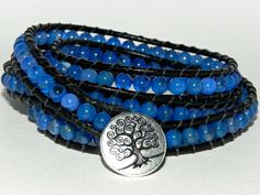 La Isla Bonita, Blue Agate and Leather Wrap Bracel by Secretvixen