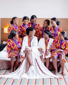 With her girls 💕Captured by African Bridal Dress, African Bridesmaid Dresses, African Wedding Attire, Bridesmaid Robes, African Dress, Bridesmaids, African Print Fashion, African Fashion Dresses, African Traditional Wedding