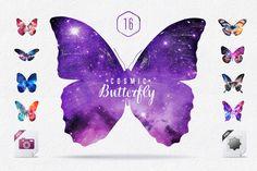 Cosmic Butterfly Set JPG & PNG by Creative Stuff on Creative Market