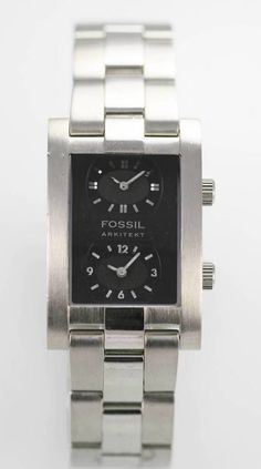 Fossil Arkitekt Dual Time Mens Stainless Tone Watch Quartz For Parts or  Repair a1fdfc312c