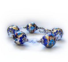 Silver blue cloisonne bracelet, ice queen, beadwork bracelet