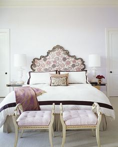 Color Theory: Painting the Walls With Lavender: The palest of lavender on the wall coordinates with the pink and lavender textiles in this sophisticated bedroom.   Source:  Flickr User coco+kelley