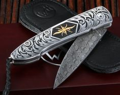 William Henry B10 Corona Engraved Damascus Folding Knife - William Henry Knives