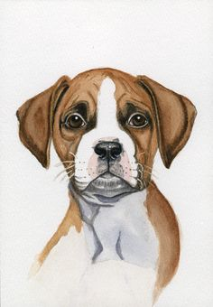 Art, Dog Painting, Boxer, 5x7 Print from Original Watercolor.