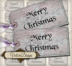 Merry Christmas Tags Labels instant download by VectoriaDesigns, $3.65