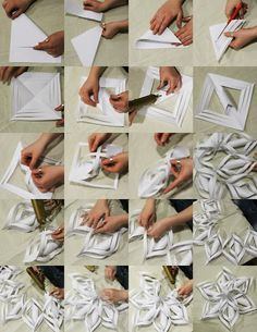 Origami Christmas: DIY ideas for beautiful Christmas decorations - home decorations more - DIY snowflakes instructions in pictures - Christmas Origami, Christmas Fun, Holiday Fun, Christmas Ornaments, Xmas, Diy And Crafts, Crafts For Kids, Arts And Crafts, Foam Crafts