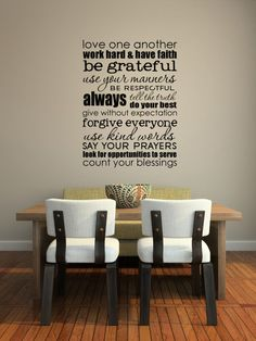 Vinyl Lettering Decal - SUBWAY ART  - Family rules-size 17 x 23 inches - 1508. $24.95, via Etsy.