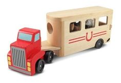 Best Toys for Kids 2014 www.pipedreamtoys.com Horse Carrier Wooden Vehicles Play Set