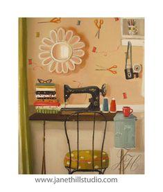 Janet Hill Hipster Crafter.  Art Print.