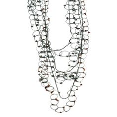 Karen Gilbert - adjustable oxidized silver long loops necklace. Available with different colored stones - Gallery Lulo