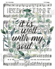 Printable It Is Well with My Soul Hymn Art Sheet Music Sheet Music Decor, Sheet Music Crafts, Hymn Art, Bible Art, Scripture Art, Hymn Quotes, Music Page, Christian Quotes, At Least