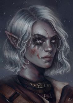 f Drow Elf Rogue Thief Leather Armor portrait female Night Traveler urban City undercity story keep your friends close & your enemies in a barbecue pit lg Elf Characters, Dungeons And Dragons Characters, Fantasy Characters, Elfen Fantasy, Fantasy Rpg, Dark Fantasy, Fantasy Portraits, Character Portraits, Fantasy Artwork