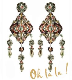 Swarovski and Silver Statement Earrings Beaded by by OhlalaJewelry, $150.00
