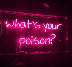 """image description: pinkish red neon sign reading """"what's your poison?"""" on a dark background Red Aesthetic Grunge, Aesthetic Colors, Bad Girl Aesthetic, Aesthetic Collage, Aesthetic Dark, Aesthetic Vintage, Aesthetic Gif, Pink Wallpaper Iphone, Aesthetic Iphone Wallpaper"""