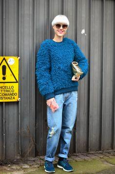 #StreetStyle Milan Fashion Week #MFW #AzulKlein #LindaTol