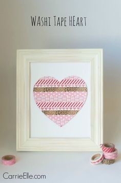 Cheap DIY Valentine Gift Ideas - Washi Tape Heart - Make These Simple and Cheap Craft and Valentine Homemade Valentines, Valentine Day Crafts, Saint Valentin Diy, Valentines Bricolage, Washi Tape Crafts, Valentine's Day Printables, Easy Diy Gifts, Cheap Gifts, Dollar Tree Crafts