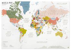 WORLD MAP   poster   beige