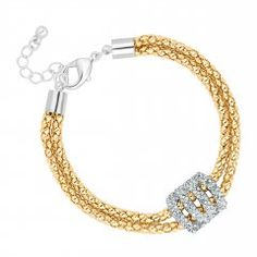 Two tone crystal link popcorn chain bracelet