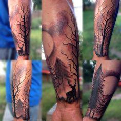 Tattoo forest trees deer arm half sleeve scenery silhouette