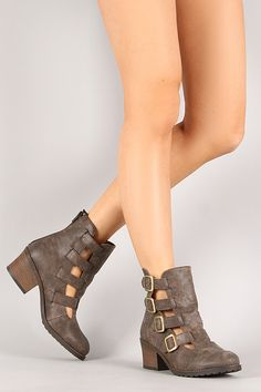 Qupid Pompeo-03 Distress Buckle Cut Out Ankle Bootie | EDGY CHIC