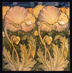 Tile poppies motif tile, artist: Galileo Chini, maker: Arte della Ceramica, circa: 1898-1902, material: earthenware | JV