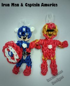 Iron Man and Captain America using the Rainbow Loom