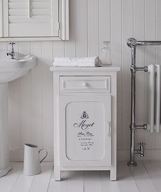 Antique white french bathroom cabinet with drawer and cupboard for great bathroom storage & Bathroom Storage Cabinets UK | Bathroom Storage Cabinets | Pinterest ...