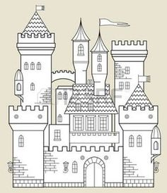 Find castle outline stock images in HD and millions of other royalty-free stock photos, illustrations and vectors in the Shutterstock collection. Castle Coloring Page, Colouring Pages, Coloring Books, Castle Illustration, Fantasy Illustration, Castle Clipart, Chateau Moyen Age, Art Classroom Management, Castle Drawing