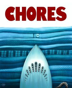 """""""Oh Jesus, No!"""" Spoof art jaws poster chores"""