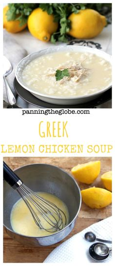 Lemony chicken soup with plenty of chicken and rice and a rich creamy texture, despite having no cream in it.