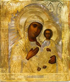RUSSIAN ICON: SMOLENSK (HODEGETRIA) MOTHER OF GOD. Icon was painted during 19th in Collectibles, Religion & Spirituality, Christianity | eBay