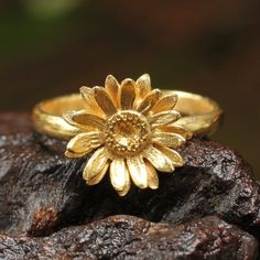 22k gold plated brass sunflower ring by MetalStudio Thailand