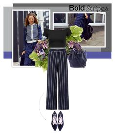 """Go stripes"" by yekyugasm on Polyvore featuring Alice + Olivia, Monsoon, Gucci, Blue, BloggerStyle, kayture, stripedpants and fashionset"