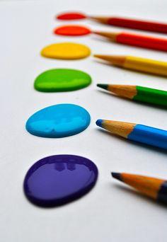 Rainbows:  #Rainbow paints and pencils.