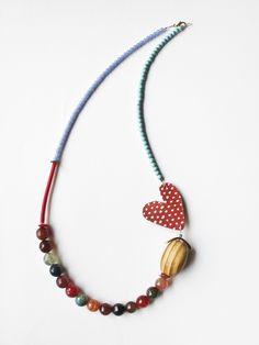 necklace by Xanthippe Tsalimi Textile Jewelry, Bead Jewellery, Fabric Jewelry, Clay Jewelry, Pendant Jewelry, Jewelry Art, Beaded Jewelry, Jewelry Design, Beaded Bracelets