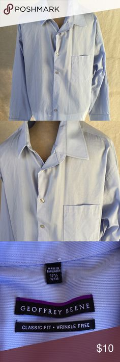 Geoffrey Beene Classic Fit Dress Shirt Size Large? Geoffrey Beene Classic Fit Wrinkle Free Dress Shirt Size Large? Soft blue. In great condition. Geoffrey Beene Shirts Dress Shirts