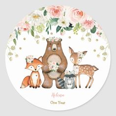 Shop Girly Woodland Forest Animals Baby Shower Birthday Classic Round Sticker created by BlueBunnyStudio. Woodland Forest, Woodland Baby, Forest Animals, Woodland Animals, Animal Birthday, Floral Baby Shower, Watercolor Rose, Woodland Creatures, Animal Party