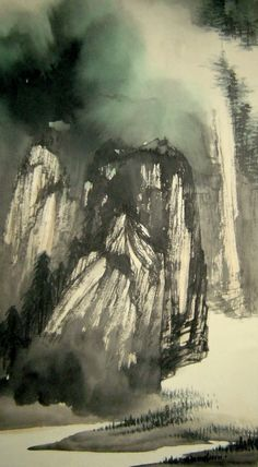Chinese painting scroll Landscape By Zhang Daqian 张大千 山水 Chinese Landscape Painting, Korean Painting, Chinese Painting, Abstract Landscape, Landscape Paintings, Art Chinois, Ink In Water, Korean Art, China Art