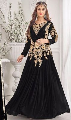 Floor Length Anarkali Suit | Perfect the celebration donning this black color embroidered lycra ...