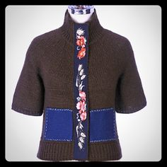 """Anthropologie Wheat &  Rose Sweater Field of Flowers brown short sleeved cardigan with a grosgrain placket  that snaps, two navy pockets and a high collar you can wear up or fold down.  Wool and acrylic.  Worn a couple times.  39"""" bust and 30"""" length. Anthropologie Sweaters Cardigans"""