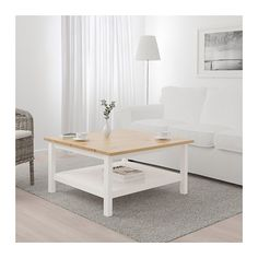 IKEA - HEMNES, Coffee table, white stain white, Solid wood has a natural feel. Separate shelf for magazines, etc. helps you keep your things organized and the table top clear. Coordinates with other furniture in the HEMNES series. Ikea Hemnes Coffee Table, Ikea Table, Table Furniture, Home Furniture, Stained Table, White Stain, Decorating Coffee Tables, Living Room Decor, Living Rooms
