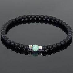 Handmade Bracelet Matte Black Onyx Amazonite Sterling Silver Spacers MEN WOMEN #Handmade #Beaded