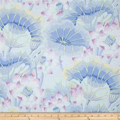 Kaffe Fasset Collective Lake Blossoms Sky from @fabricdotcom  Designed by Kaffe Fassett for Westminster/Rowan Fabrics, this cotton print is perfect for quilting, apparel and home decor accents. Colors include yellow, light blue, lilac, purple and aqua.