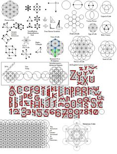 The Flower of Life, Tripod of Life, Tree of Life, Seed of Life, Egg of Life, Fruit of Life, Metatrons Cube, TetraHedron, Dodecahedron, Shape of God, Free Mason Symbols, Vesica Pisces, the 3Ds (x,y,z), cube, holy trinity, Atomic Lattice Structures, DNA, Yin-Yang, Interferometry Signal Patterns, and all of the English Numbers and Letters