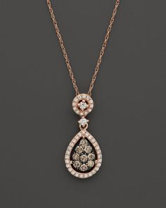 Brown & White Diamond Teardrop Pendant in 14K Rose Gold, .45 ct. t.w.