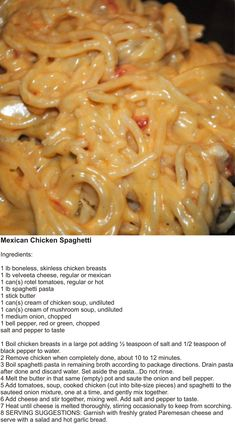 Today is National Spaghetti Day! ❤️ 🍝 Try this uniquely delicious Mexican spaghetti to celebrate the day! Mexican Chicken Spaghetti, Chicken Spaghetti Recipes, Chicken Spaghetti Casserole, Chicken Spaghetti Velveeta, Cheesy Spaghetti, Chicken Tetrazzini Recipes, Chicken Spaghetti With Velveeta, Chicken Rotel Recipes, Recipes With Rotisserie Chicken