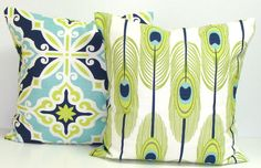 GREEN Pillows BLUE Pillows Feather Pillow Cover by ElemenOPillows
