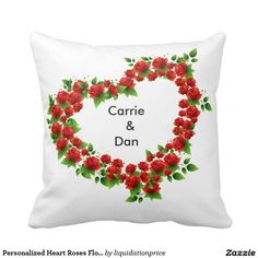 Personalized Heart Roses Flower Bouquet Pillow
